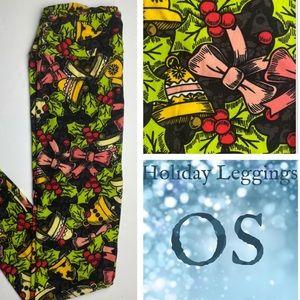 LuLaRoe Adult OS Holiday Leggings Bows & Bells